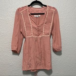 Forever 21 Blush Peasant Button Up Blouse Lace